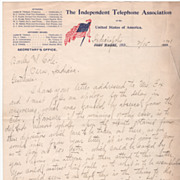 Independent Telephone Assn of the U S A Indianapolis Indiana IN Letterhead 2 pgs