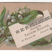 O H P Gladding Yankee Notions 85 Thames St Newport RI Victorian Trade Card
