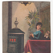 Round Oak Stoves for Wood or Coal Victorian Trade Card
