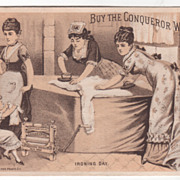 Conqueror Wringer John A Powers Milford NH New Hampshire Victorian Trade Card B