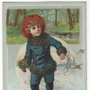 Young Ice Skater in Fur Trimmed Outfit with Bouquet Victorian Trade Card