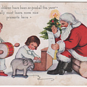 Christmas Vintage Postcard Whitney Santa Helps Children Play a Christmas Song