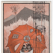Black Children Looking through Hole In Umbrella Outlook Here Is Good Vintage Postcard