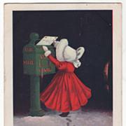 Ullman Sunbonnet Children February Mailing a Valentine Vintage Postcard