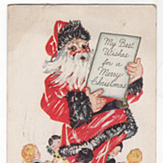 Ring of Children around Santa Claus Christmas Vintage Postcard Best Wishes