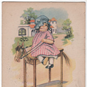 Cloth Doll on a Hobby Horse Table Water Color Set Vintage Postcard