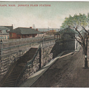 Jamaica Plain Station Jamaica Plain MA Massachusetts Vintage Postcard