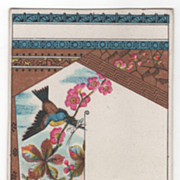 Bird and Apple Blossoms Victorian Trade Card