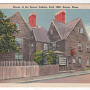 House of the Seven Gables Built 1668 Salem MA Massachusetts Vintage Postcard