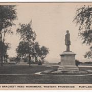 Thomas Brackett Reed Mon Western Promenade Portland ME Maine Vintage Postcard