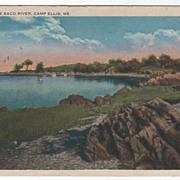 Banks of the Saco River Camp Ellis ME Maine Vintage Postcard