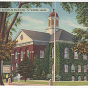 Plymouth Memorial Building Plymouth MA Massachusetts Vintage Postcard