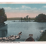 Outlet to Cold Stream Lake Enfield ME Maine Vintage Postcard