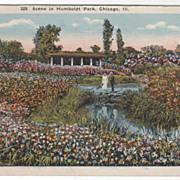 Scene in Humboldt Park Chicago IL Illinois Vintage Postcard