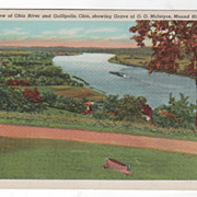 Bird's-Eye View of Ohio River and Gallipolis Ohio Showing Grave of O O McIntyre Mound Hill Cem