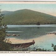 Moose Pond and Mt Pleasant Bridgton ME Maine Vintage Postcard