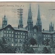 St Joseph's Seminary Troy NY New York Vintage Postcard