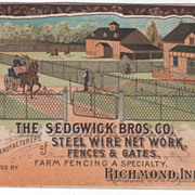 The Sedgwick Bros Co Steel Wire Net Work Richmond IN Victorian Trade Card