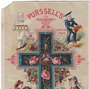 Purssell's Hot Buns Foreign Fruits Easter Eggs Broadway NYC NY Victorian Trade Card