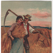SOLD People Vintage Postcard Couple Harvesting Wheat