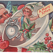 Santa Claus with a Bell Holding an Angel Merry Xmas Christmas Vintage Postcard