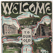 Views Welcome to Old Home Week Sept 6-8 1908 Troy NY New York Vintage Postcard