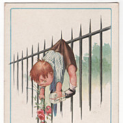 SOLD Children Boy with Pants Caught on Iron Spike of Fence Vintage Postcard