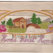 "Greeting ""Home Sweet Home"" and ""Sweetheart Mine"" Silk Thread Vintage Postc"