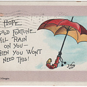 """Greetings """"I Hope Good Fortune Will Rain on You - Then You Won't Need This"""" Vintage"""
