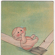 Baseball Boy Sliding to Home Base on His Fanny Vintage Postcard