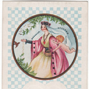 SOLD Queen Feeding Birds as Cupid Flies by Valentine Vintage Postcard
