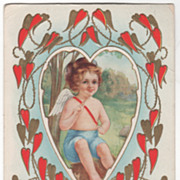 """Cupid in a Meadow """"For My Valentine"""" Valentine Vintage Postcard"""