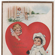 Large Red Heart Cupid Girl in White with Valentine Valentine Vintage Postcard