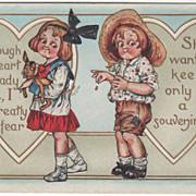 Girl Holds Dog Boy Picks Petals White Hearts Valentine Vintage Postcard