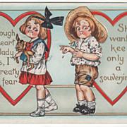 Girl Holds Dog Boy Picks Petals Red Hearts Valentine Vintage Postcard