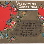 "Arrow Pierced Red Hearts ""Valentine Greetings"" Valentine Vintage Postcard"