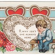 Sad Little Boy on Bench with Puppy at Feet Valentine Vintage Postcard