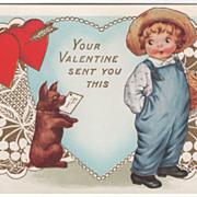 Dog with Valentine in Mouth for Child Valentine Vintage Postcard