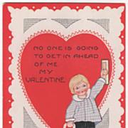 Child Opening a Big Red Heart Door Valentine Vintage Postcard