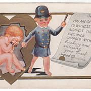 Child Policeman with Cupid in Handcuffs Valentine Vintage Postcard