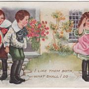 SOLD Girl Deciding between Two Boys for Valentine Valentine Vintage Postcard