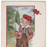 Newspaper Boy with Papers under His Arm Valentine Vintage Postcard