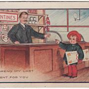 Boy Buying Large Valentine at the Store Valentine Vintage Postcard