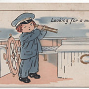 "SOLD Sailor Boy ""Looking for a Mate"" Valentine Vintage Postcard"
