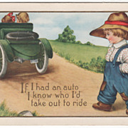 SOLD Farmer Boy Following a Couple in an Early Automobile Valentine Vintage Postcard