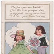 Boy Presenting Large Bouquet to girl Valentine Vintage Postcard