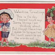 Tongue-Tied Little boy with Girl with Doll Valentine Vintage Postcard