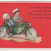 SOLD Girl and Boy Riding a Motorcycle Valentine Vintage Postcard