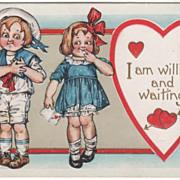 Boy in Sailor Suit Girl with a Valentine Valentine Vintage Postcard