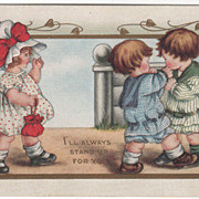 SOLD Girl Watching Two Little Boys Fight Valentine Vintage Postcard
